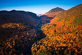 Aerial view of Mountain Forests with Brilliant Fall Colors in Autumn, New England