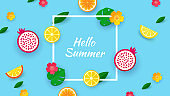 Hello summer. Design with fruit cut paper shapes and tropical leaves. Template for a banner, postcard, poster. Vector