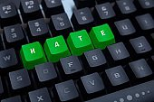 The word hate written with keyboard buttons. A symbol of hatred often found on the Internet.