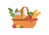 Baskets with food and drinks isolated, fruits and bakery flat cartoon icon. Vector wicker container juice bottle, baguettes and fresh apples. Bananas and grapes, checkered red napkin, dieting meal