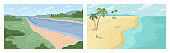 Scenery landscape of river bank or seaside summer beach, flat cartoon backgrounds set. Vector green trees, grass and bushes, forest or park nature. Summer panorama, paradise, ocean sea seashore, water