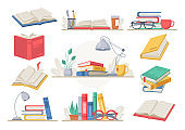 Stack of books, stationery and glasses, lamp, tea and coffee cup, lamp and plant in pot isolated. Vector desk with textbooks encyclopedias, workplace workspace. Learning education, piles of literature