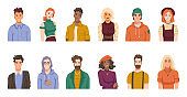 Portraits of people from different cultures and nations. Isolated set of males and females, positive youth or adults wearing hipster cloth. Diverse personages. Cartoon character, vector in flat style