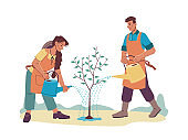 Cartoon people watering growing tree with water cans isolated man and woman farmers in aprons. Vector cartoon characters farmers gardening together. Husband wife with watering-pots, orchard planting