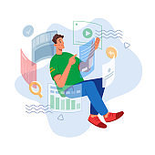Man analyzing data and studying online in virtual world isolated flat cartoon character. Vector e-learning of future, man working with web data. Innovation progress and development at work