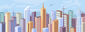 Downtown at day, facade exteriors of urban buildings, flat cartoon design. Vector modern city panorama, skyscraper offices, real estate houses. Cityscape background, big town architecture, blue sky