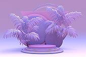 Pink violet pastel podium, platform for advertising products, promotions.