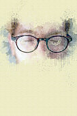 close-up of young man with glasses and eyes closed in watercolors