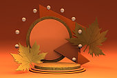 Hello Autumn 3d minimal podium with autumn yellow, orange leaves and product stage. 3d Fall leaves