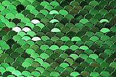Sequins green shiny background.sequin pattern.Texture scales with Sequins close-up.Scales background.Shiny texture material .iridescent fabric.sparkling sequined textile