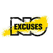 No Excuses. Inspiring Sport Typography Motivation Quote Illustration Illustration. Workout and Fitness Gym Creative Strong Vector Rough Typography Grunge Wallpaper Poster Concept