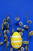 Easter holiday.Yellow striped easter eggs and pussy willow sprigs on blue background.Spring festive easter background.Spring religious holiday