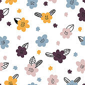 Hand drawn floral seamless pattern. Cute background with flowers. Graphic design. Scandinavian style