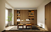 3d render of study room,  home office