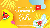 Summer sale editable template banner with fluid liquid elements, tropical leaves and bubble forms on yellow background with copy space for banner, greeting card, poster and advertising