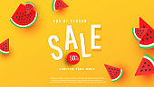 Summer Sale banner, hot season discount poster with ripe watermelon slices pattern on yellow background