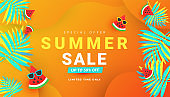 Summer sale layout poster banner with ripe watermelon slices pattern and tropical leaves on orange background