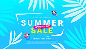 Summer sale promo poster with tropical leaves beach accessories on blue background. Promotion banner for website, flyer and poster. Vector illustration