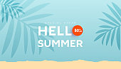 Summer sale banner with fluid bubble shapes and tropical leaves on mint background with space for ad text