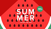 Vector watermelon background with black seeds. Season summer sale banner, hot season discount poster with ripe watermelon