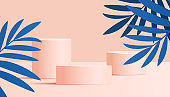 Summer sale banner in trendy bright colors with tropical leaves and podium or platform Vector illustration