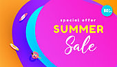 Gradient summer sale template background layout banner. Promotion banner for website, flyer and poster