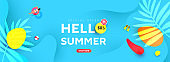Summer sale editable template banner with fluid liquid elements and bubble forms for banner, greeting card, poster and advertising