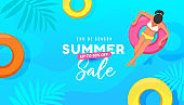 Yellow, pink and orange rubber ring floating in the swimming pool. Summer sale vector illustration with tropical leaves background.