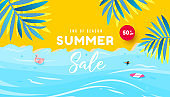 Summer sale design with flat lay tropical beach, tropical leaves and bubble forms for flyer, invitation, poster, website or greeting card.