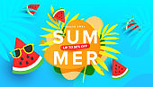Summer sale vector illustration with tropical leaves, ripe watermelon slices pattern background. Promotion banner for website, flyer and poster. Vector illustration