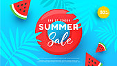 Summer sale vector illustration with tropical leaves, watermelon slices pattern background.