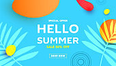 Summer sale editable template banner with fluid liquid elements, tropical leaves and bubble forms for flyer, invitation, poster, website or greeting card.