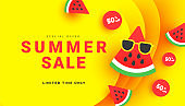 Bright summer discount sale banner background with ripe watermelon slices pattern on yellow with copy space for store marketing promotion.