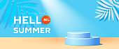 Hello summer sale horizontal banner in trendy bright color with podium or platform, geometric bubble shapes. Vector illustration