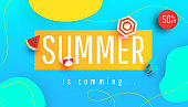 Summer is coming banner vector illustration with tropical leaves, bubble forms and beach accessories pattern background. Promotion banner for website, flyer and poster