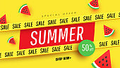 Summer sale vector illustration with tropical beach accessories, ripe watermelon slices background. Promotion banner for website, flyer and poster.