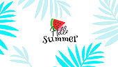 Hello summer sale editable template banner with on white background for flyer, invitation, poster