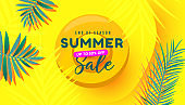 Summer sale vector illustration with tropical leaves, bubble forms pattern on yellow background. Promotion banner for website, flyer and poster.