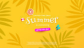 Summer sale banner with tropical leaves on yellow background. Vector illustration