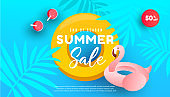 Summer sale design with ocean, tropical leaves and pink flamingo inflatable circle for flyer, invitation, poster, website or greeting card.