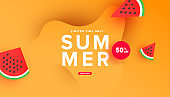 Hello summer sale banner design with tropical leaves and ripe watermelon slices on yellow background with copy space