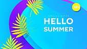 Creative summer sale banner in trendy bright colors with tropical leaves and discount text.