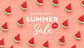 Bright summer discount sale banner background with ripe watermelon slices pattern on pink background with copy space for store marketing promotion.