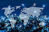 communication. global media link connecting on night city background, digital, internet, smart city, networking, partnership, smart city, business finance, network connection and technology concept