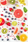 Fresh fruit. Citrus fruits, blueberries, strawberries, and mint
