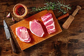 Pork meat, overhead flat lay shot with rosemary