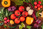 Healthy food background with many fresh vegetables, shot from the top
