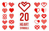 Hearts geometric linear logos vector icons or logotypes set, graphic design modern style elements, love care and charity geometrical symbols collection.