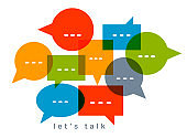 Different speech bubbles composition vector flat design isolated on white, global communication concept, public discussion or opinion diversity metaphor, conference or brainstorming.