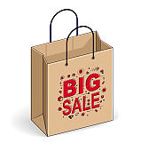 Shopping bag big sale, sellout, retail, Black Friday discount, eco paper bag isolated on white background. Vector 3d isometric business and finance illustration, thin line design.